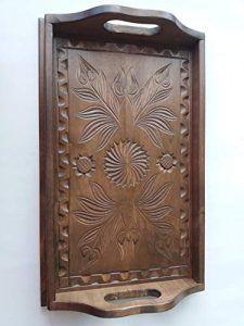 Bandeja de madera arce tallada a mano